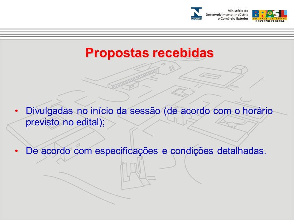 Propostas recebidas Divulgadas no início da sessão (de acordo com o horário previsto no edital);