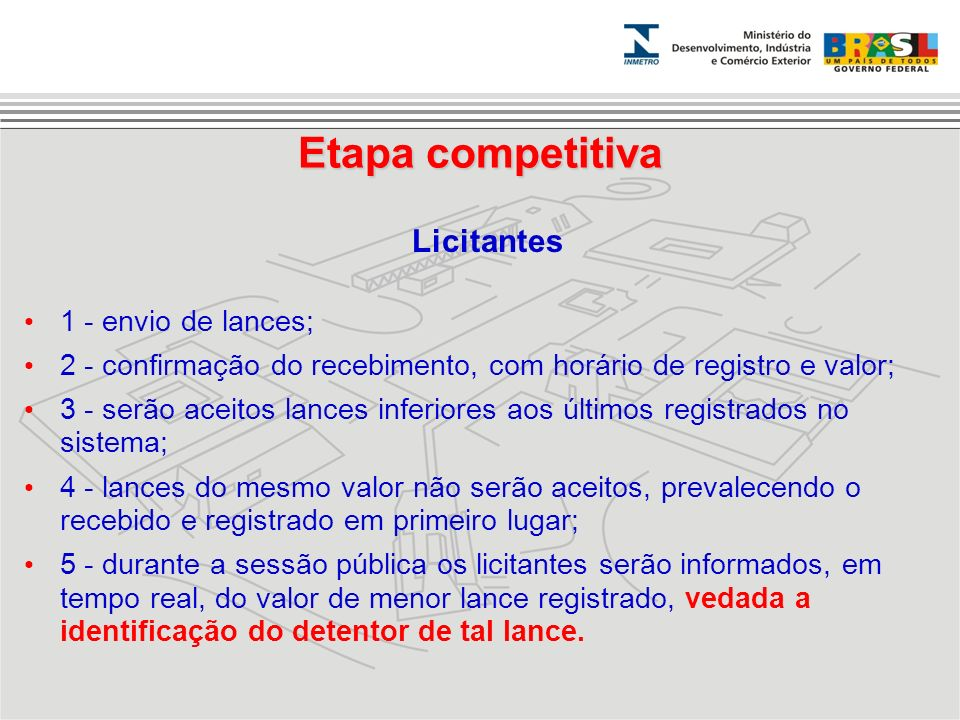 Etapa competitiva Licitantes 1 - envio de lances;