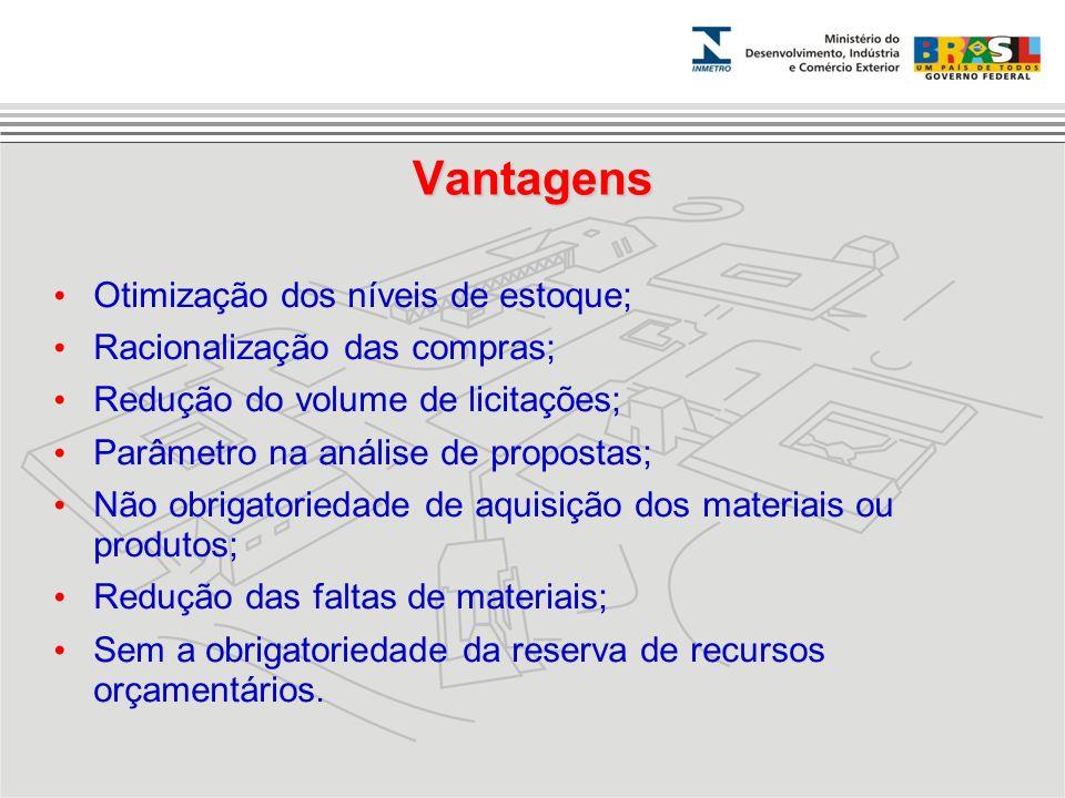 Vantagens Otimização dos níveis de estoque;