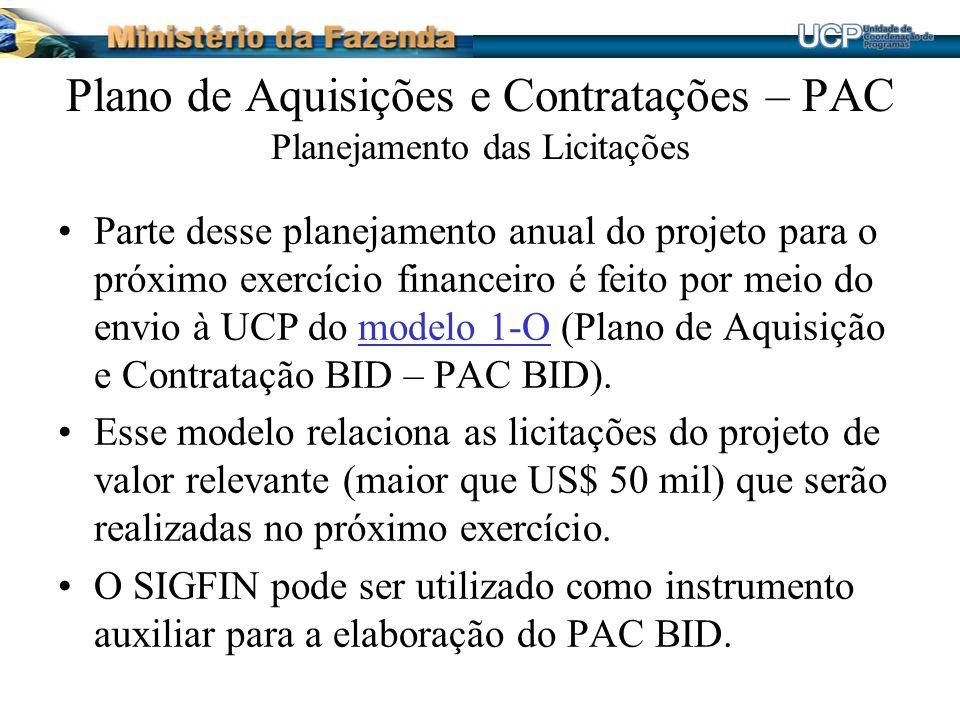 Plano de Aquisições e Contratações – PAC Planejamento das Licitações
