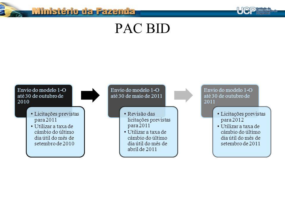 PAC BID Envio do modelo 1-O até 30 de outubro de 2010. Licitações previstas para 2011.