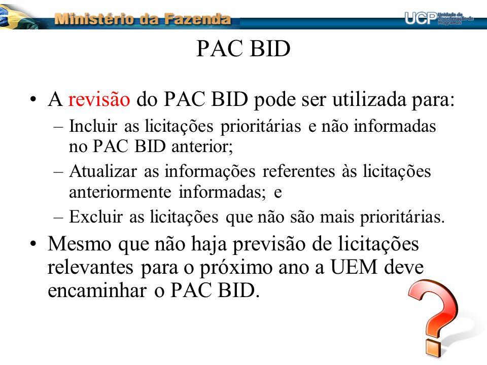 PAC BID A revisão do PAC BID pode ser utilizada para: