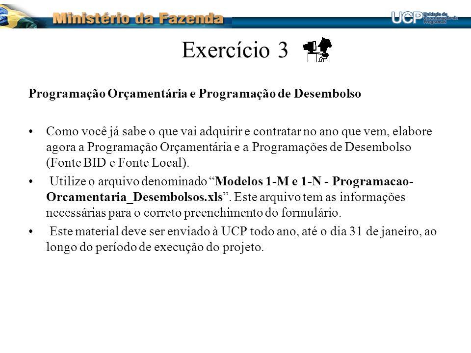Exercício 3 Programação Orçamentária e Programação de Desembolso