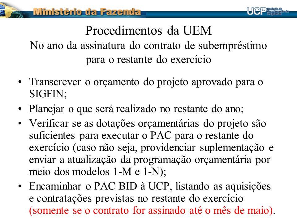 Procedimentos da UEM No ano da assinatura do contrato de subempréstimo para o restante do exercício