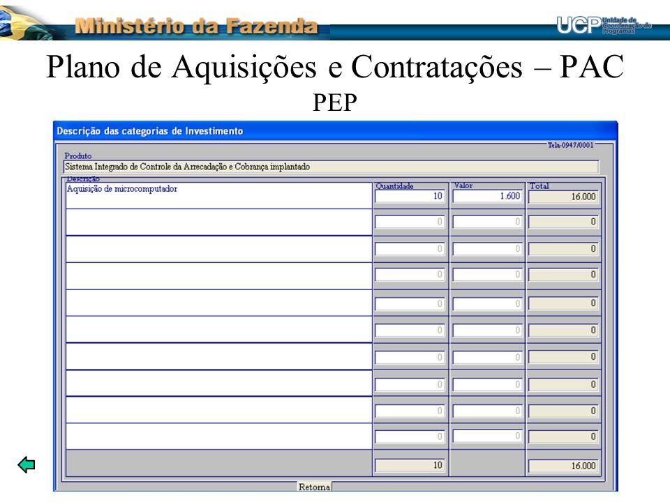 Plano de Aquisições e Contratações – PAC PEP