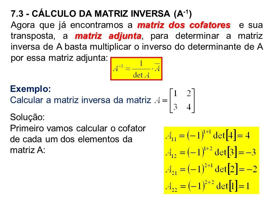 Exemplo: Calcular a matriz inversa da matriz