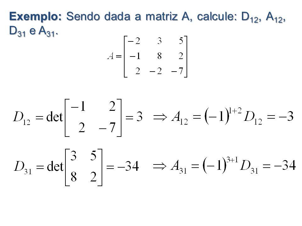 Exemplo: Sendo dada a matriz A, calcule: D12, A12, D31 e A31.