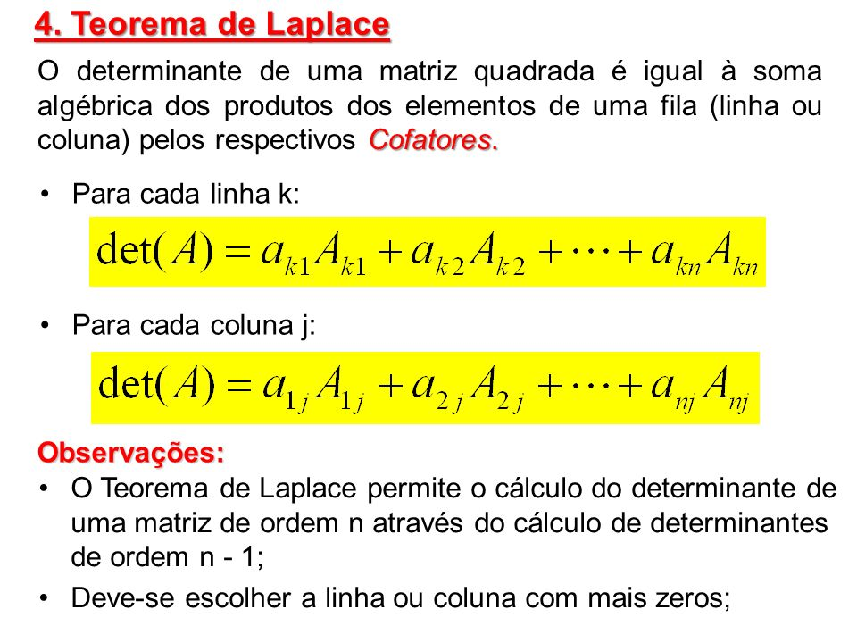 4. Teorema de Laplace