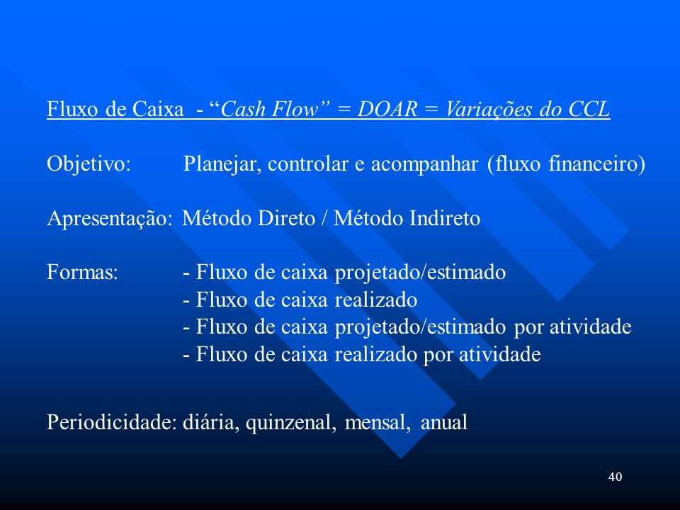 Fluxo de Caixa - Cash Flow = DOAR = Variações do CCL