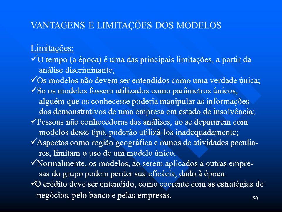 VANTAGENS E LIMITAÇÕES DOS MODELOS Limitações: