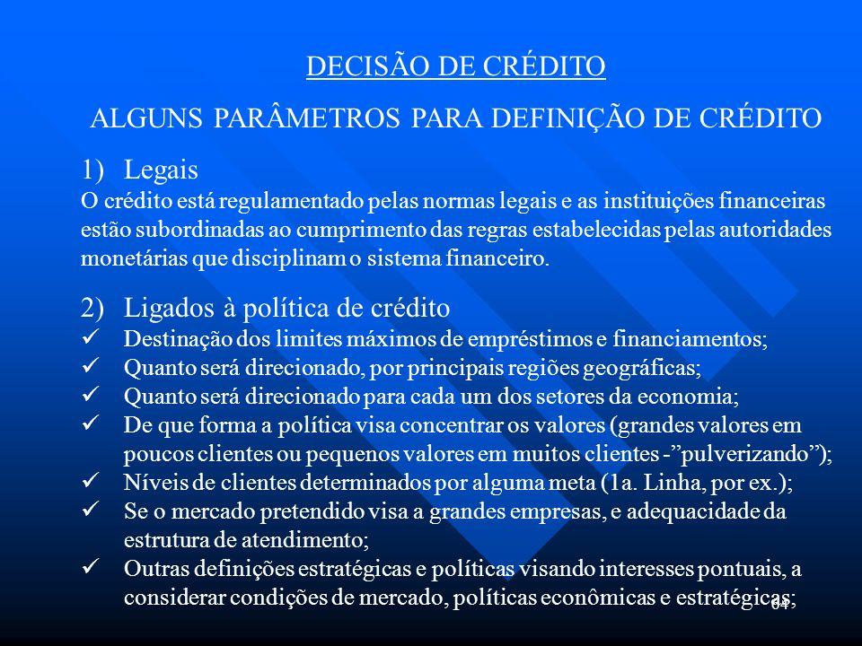 ALGUNS PARÂMETROS PARA DEFINIÇÃO DE CRÉDITO