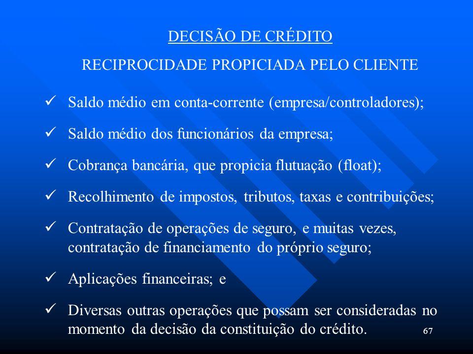 RECIPROCIDADE PROPICIADA PELO CLIENTE