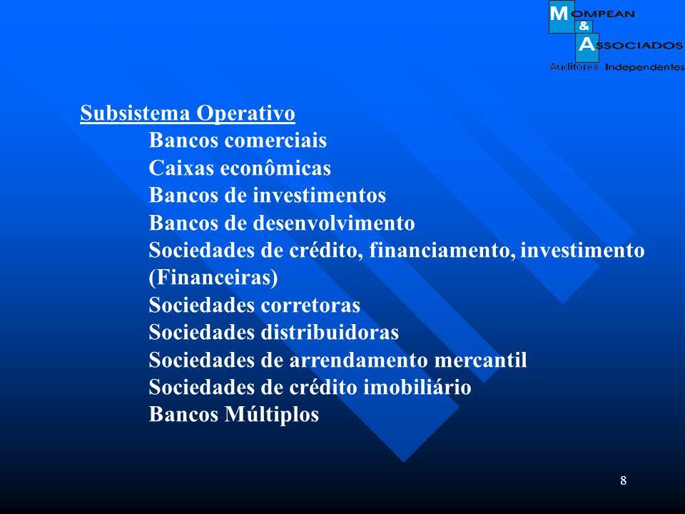 Subsistema OperativoBancos comerciais. Caixas econômicas. Bancos de investimentos. Bancos de desenvolvimento.