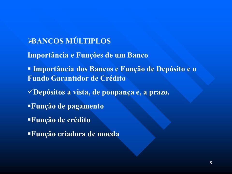 BANCOS MÚLTIPLOS Importância e Funções de um Banco. Importância dos Bancos e Função de Depósito e o Fundo Garantidor de Crédito.