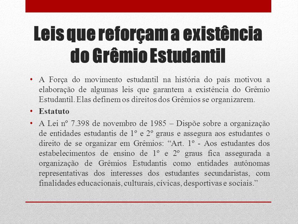 Leis que reforçam a existência do Grêmio Estudantil
