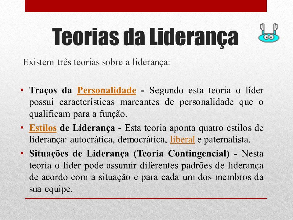 Teorias da Liderança Existem três teorias sobre a liderança: