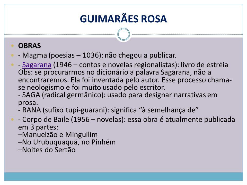 GUIMARÃES ROSA OBRAS - Magma (poesias – 1036): não chegou a publicar.