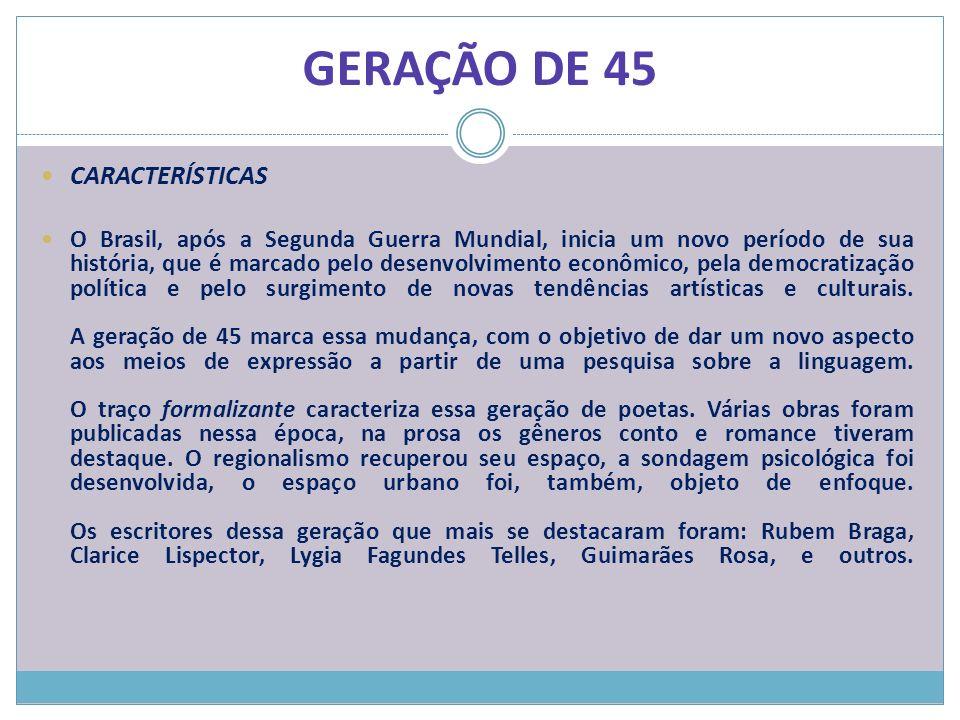 GERAÇÃO DE 45 CARACTERÍSTICAS