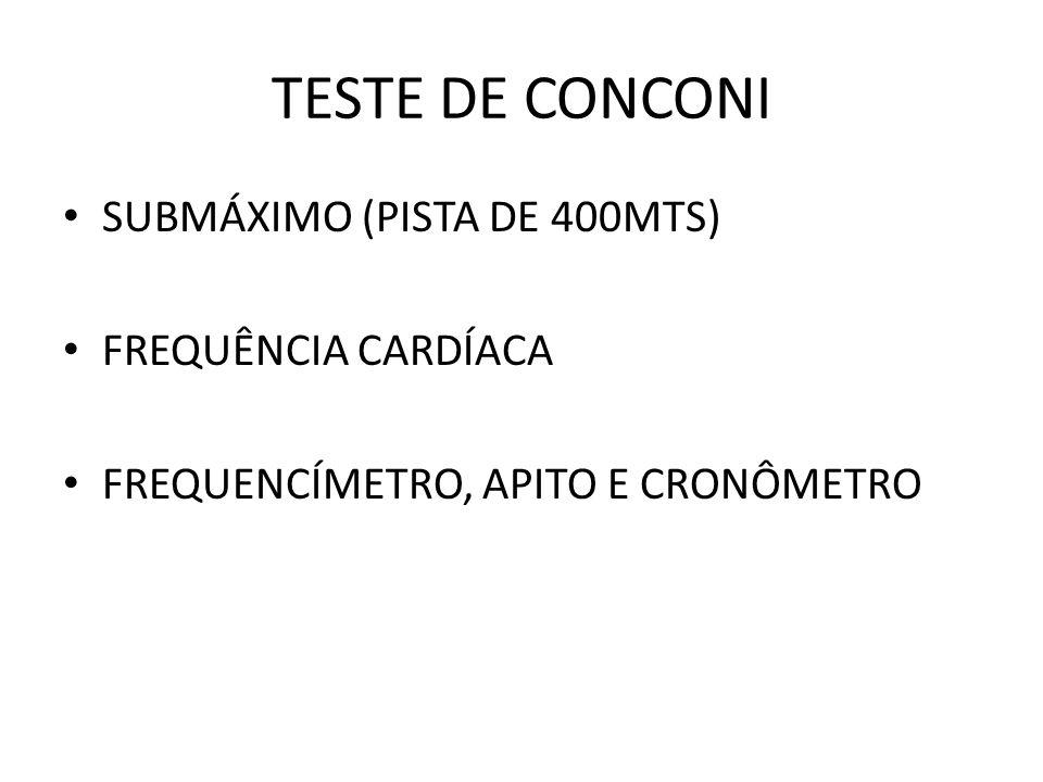 TESTE DE CONCONI SUBMÁXIMO (PISTA DE 400MTS) FREQUÊNCIA CARDÍACA