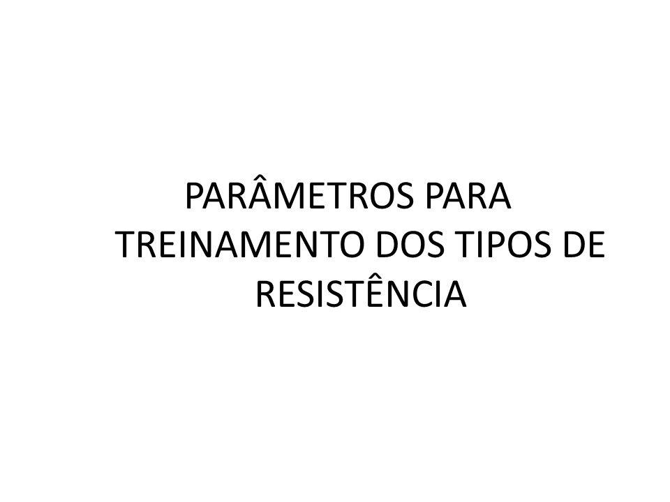 PARÂMETROS PARA TREINAMENTO DOS TIPOS DE RESISTÊNCIA