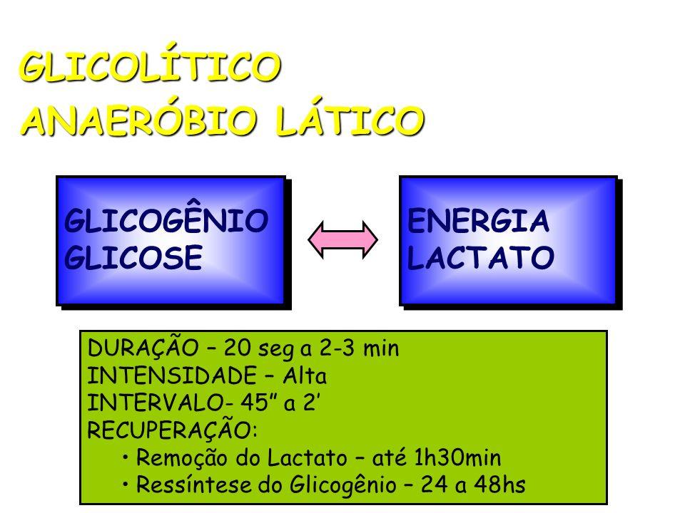 GLICOLÍTICO ANAERÓBIO LÁTICO GLICOGÊNIO GLICOSE ENERGIA LACTATO