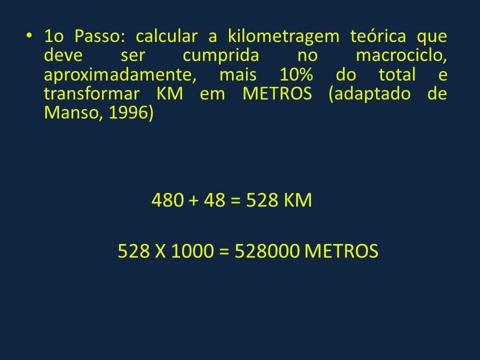 1o Passo: calcular a kilometragem teórica que deve ser cumprida no macrociclo, aproximadamente, mais 10% do total e transformar KM em METROS (adaptado de Manso, 1996)
