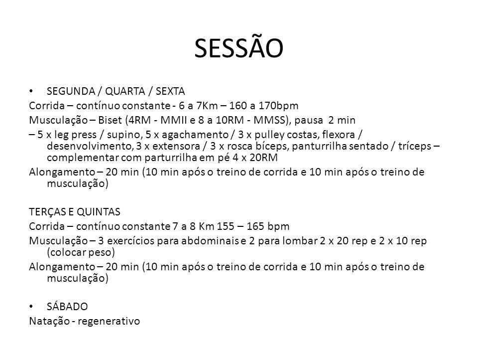 SESSÃO SEGUNDA / QUARTA / SEXTA
