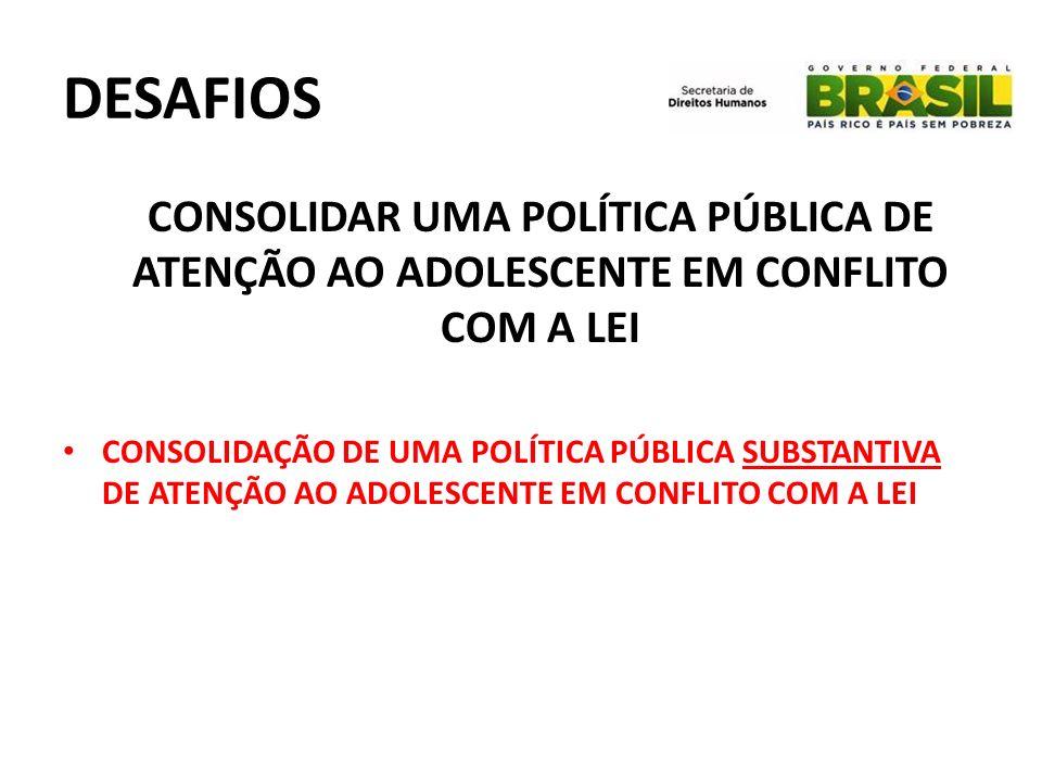 DESAFIOS CONSOLIDAR UMA POLÍTICA PÚBLICA DE ATENÇÃO AO ADOLESCENTE EM CONFLITO COM A LEI.