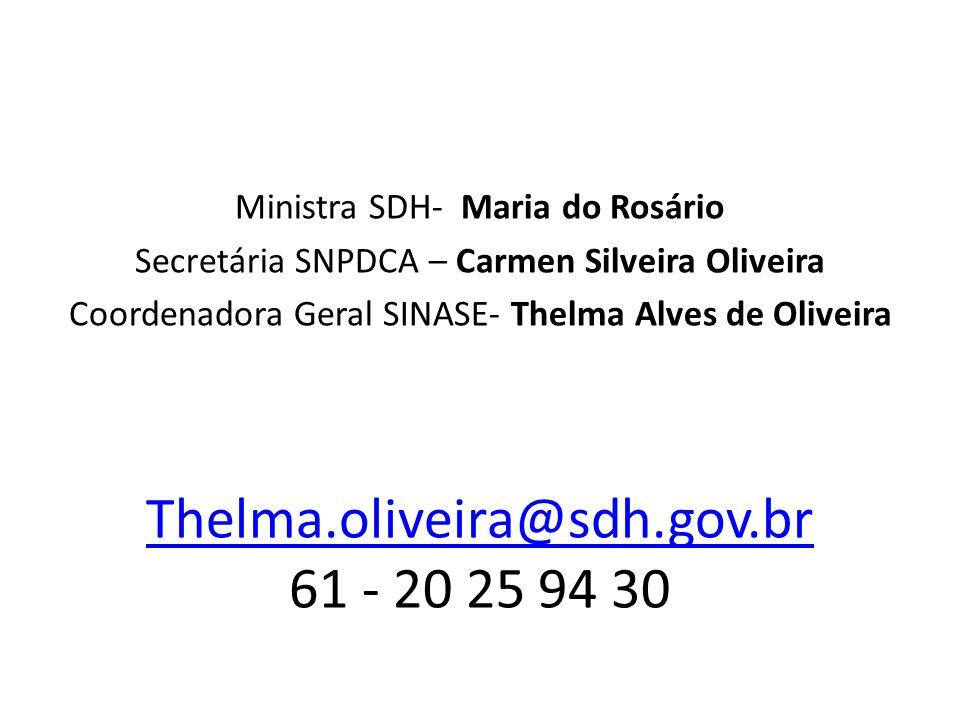 Thelma.oliveira@sdh.gov.br 61 - 20 25 94 30