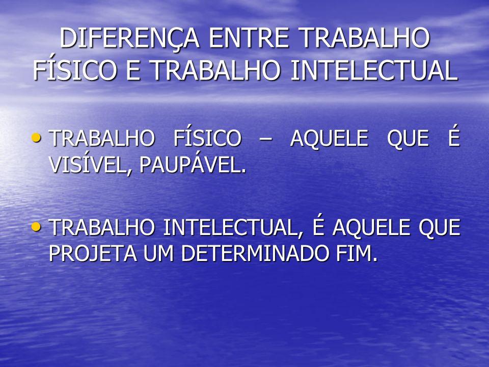 DIFERENÇA ENTRE TRABALHO FÍSICO E TRABALHO INTELECTUAL