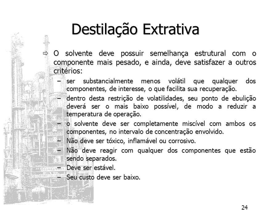 Destilação Extrativa O solvente deve possuir semelhança estrutural com o componente mais pesado, e ainda, deve satisfazer a outros critérios: