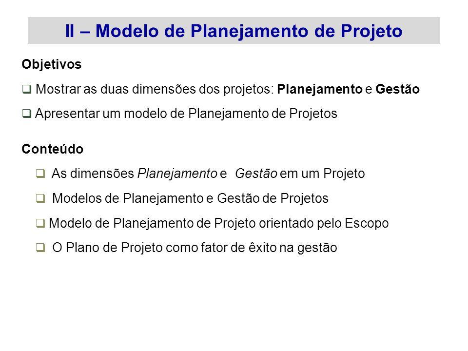 II – Modelo de Planejamento de Projeto