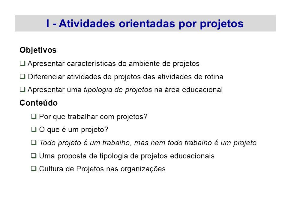 I - Atividades orientadas por projetos