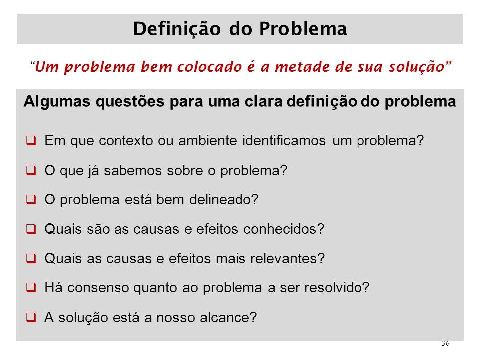 Algumas questões para uma clara definição do problema