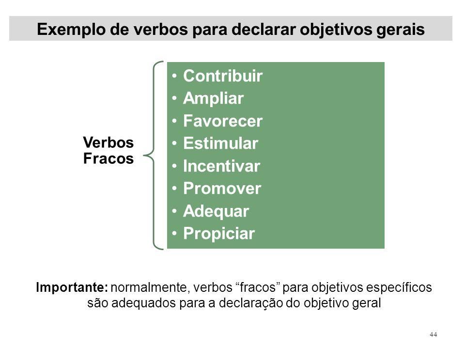 Exemplo de verbos para declarar objetivos gerais