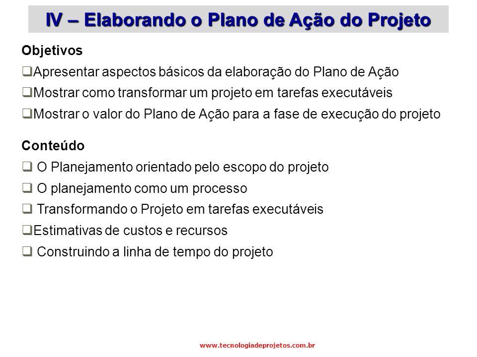 IV – Elaborando o Plano de Ação do Projeto
