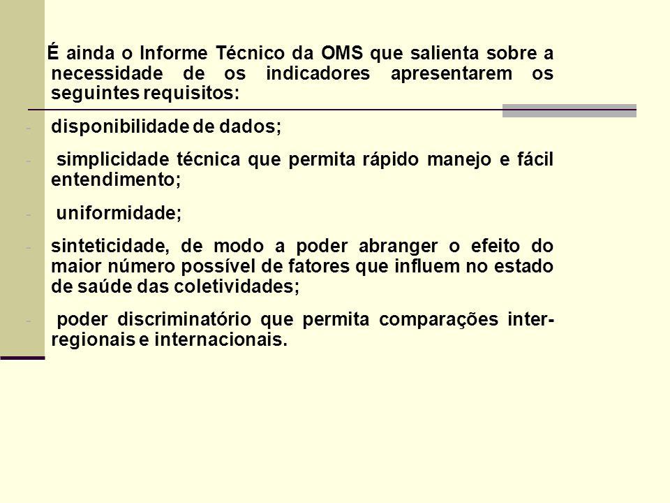 É ainda o Informe Técnico da OMS que salienta sobre a necessidade de os indicadores apresentarem os seguintes requisitos: