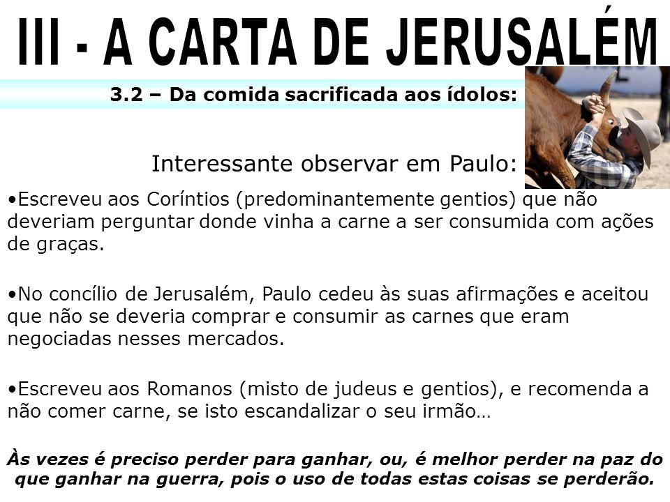 III - A CARTA DE JERUSALÉM
