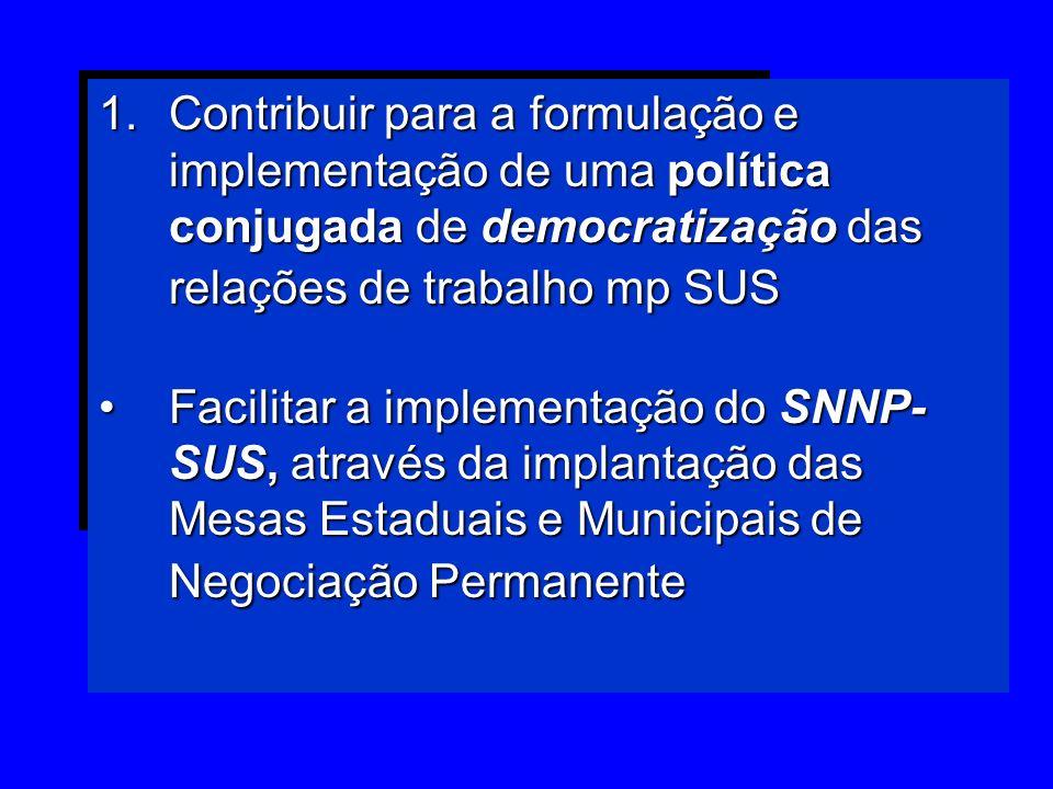 Contribuir para a formulação e implementação de uma política conjugada de democratização das relações de trabalho mp SUS