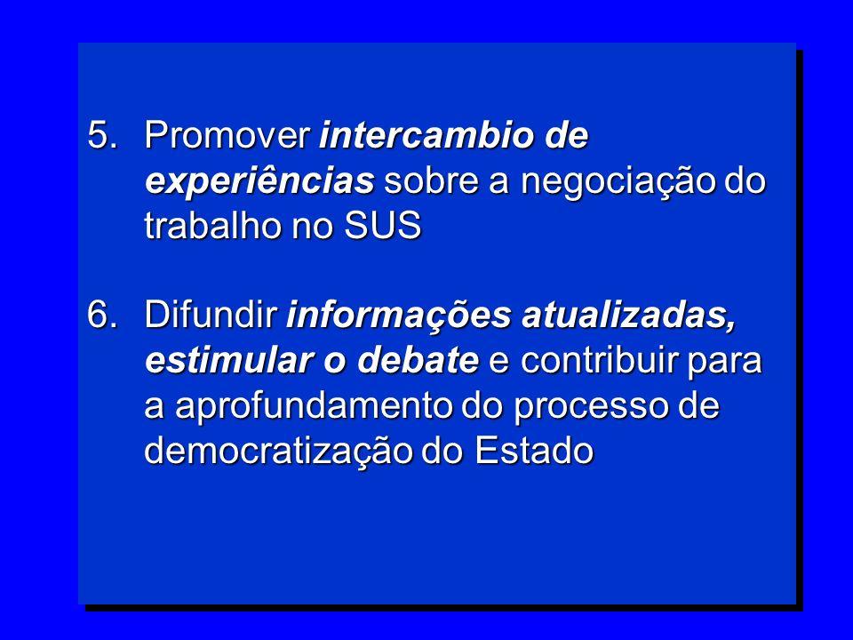 Promover intercambio de experiências sobre a negociação do trabalho no SUS