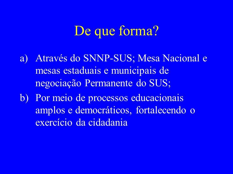 De que forma Através do SNNP-SUS; Mesa Nacional e mesas estaduais e municipais de negociação Permanente do SUS;