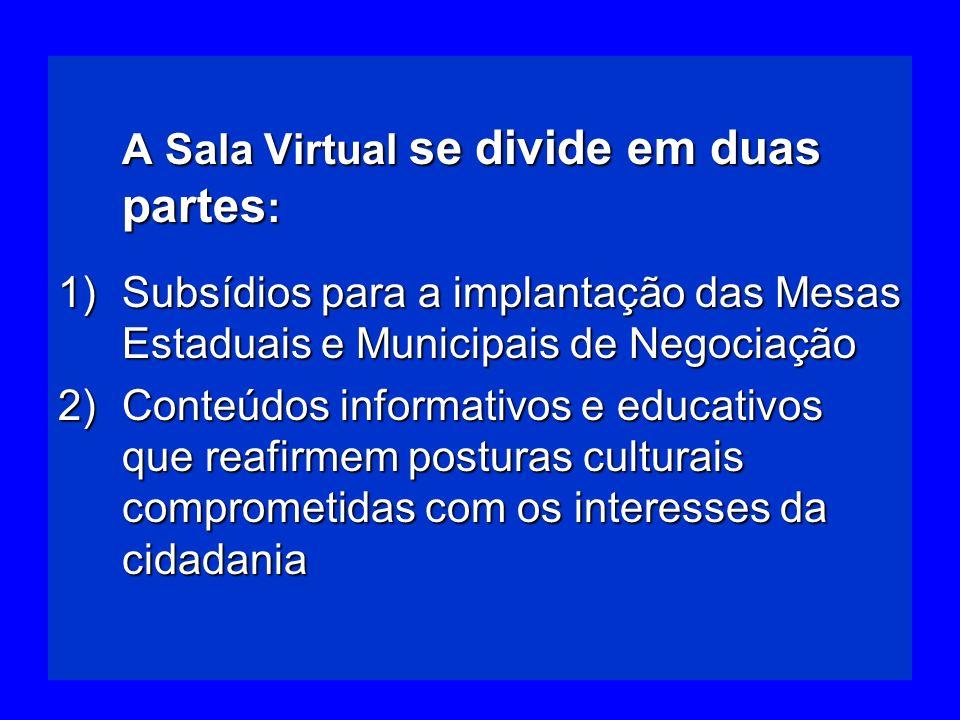 A Sala Virtual se divide em duas partes: