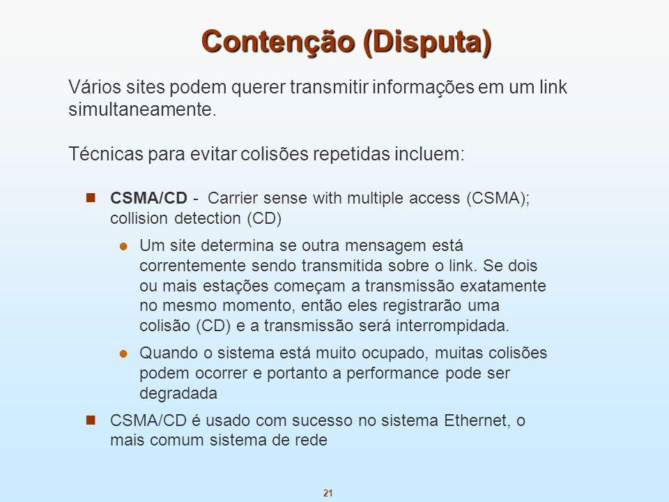 Contenção (Disputa)Vários sites podem querer transmitir informações em um link simultaneamente. Técnicas para evitar colisões repetidas incluem: