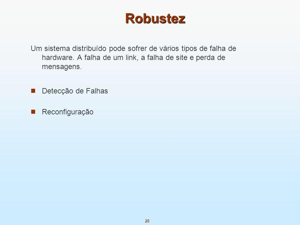 Robustez Um sistema distribuído pode sofrer de vários tipos de falha de hardware. A falha de um link, a falha de site e perda de mensagens.