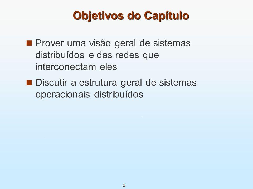 Objetivos do CapítuloProver uma visão geral de sistemas distribuídos e das redes que interconectam eles.