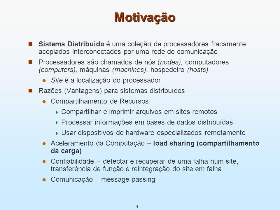 MotivaçãoSistema Distribuído é uma coleção de processadores fracamente acoplados interconectados por uma rede de comunicação.