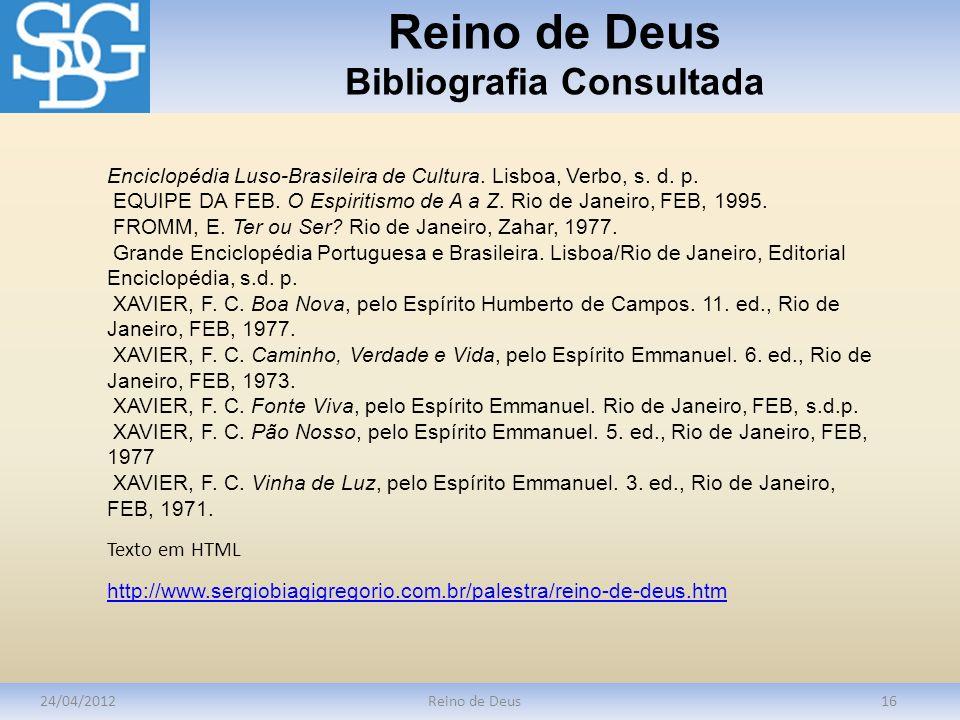 Reino de Deus Bibliografia Consultada