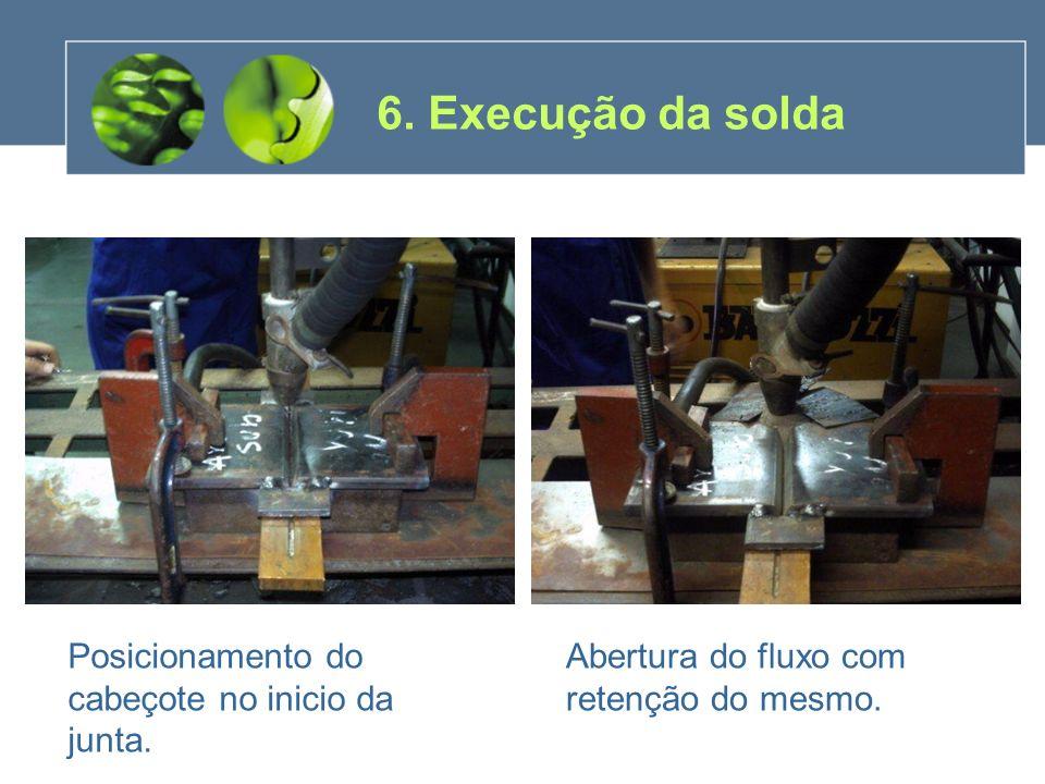 6. Execução da solda Posicionamento do cabeçote no inicio da junta.