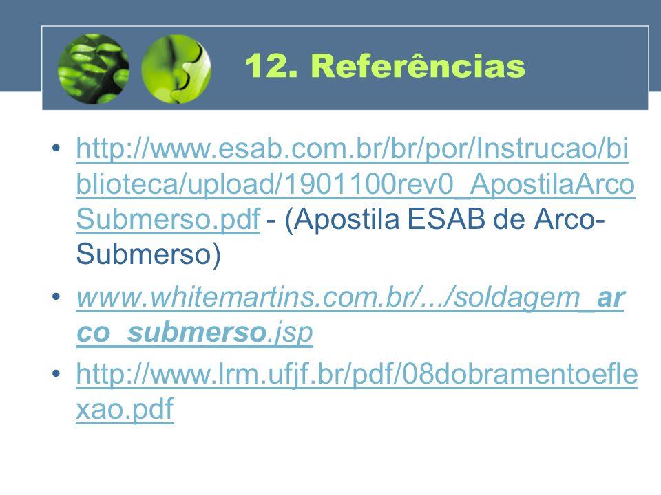 12. Referências http://www.esab.com.br/br/por/Instrucao/biblioteca/upload/1901100rev0_ApostilaArcoSubmerso.pdf - (Apostila ESAB de Arco-Submerso)