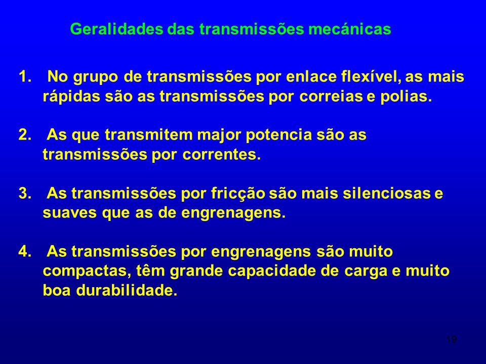Geralidades das transmissões mecánicas